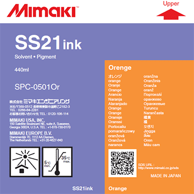 SPC-0501OR SS21 Solvent ink cartridge Orange